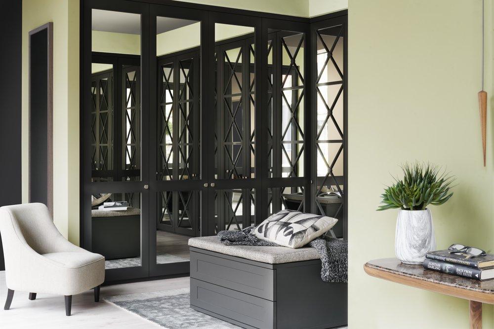 Graphite Shaker & Castille Doors with Silver Mirror