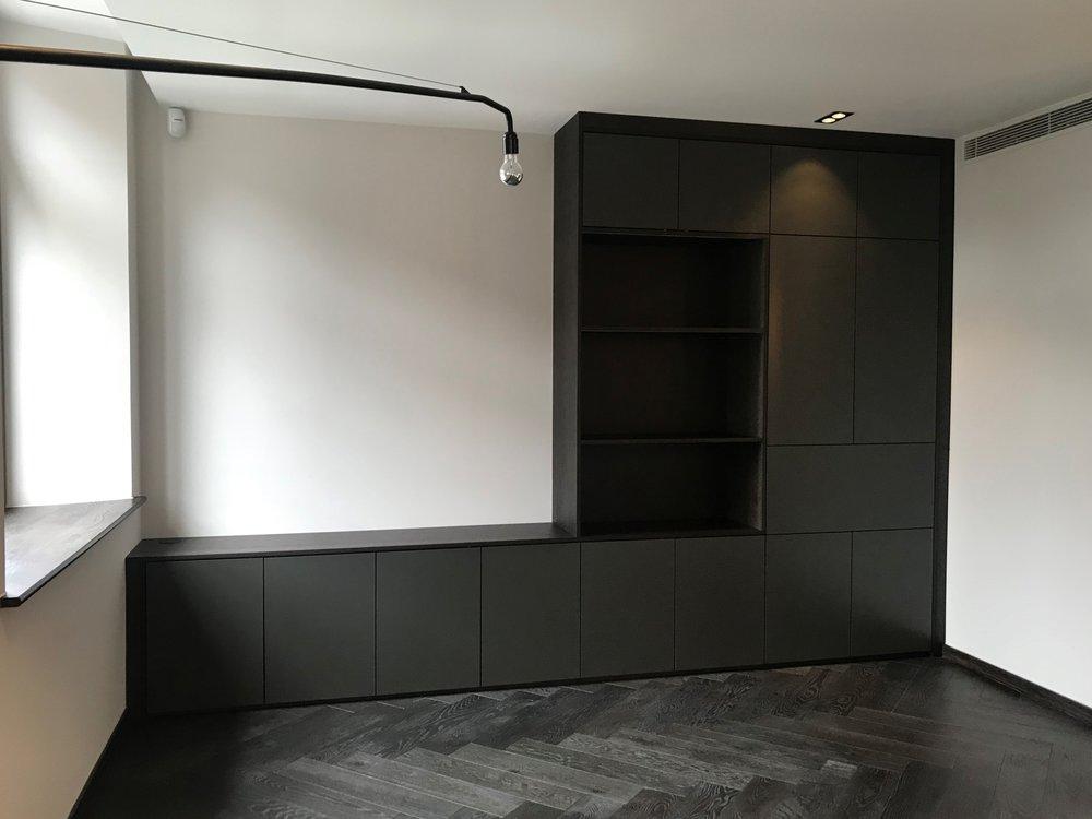 Dark Oak Bookshelf with Bespoke Colour Matt Lacquered Doors.jpg