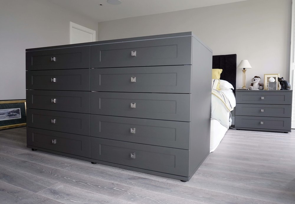 Drawer Unit - Graphite Matt Lacquer with Shaker Drawer Fronts & Grey Nouvel Handles (1).jpg