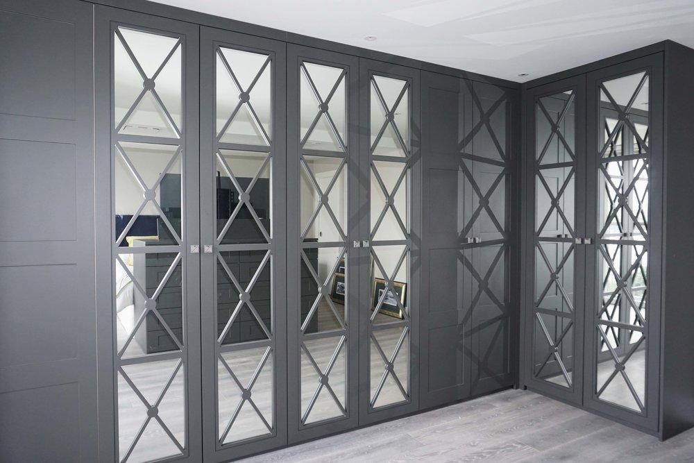 Graphite Matt Lacquer Shaker 4 Panel & Graphite Matt Lacquer Castille Doors with Silver Mirror & Grey Nouvel Handles (1).jpg