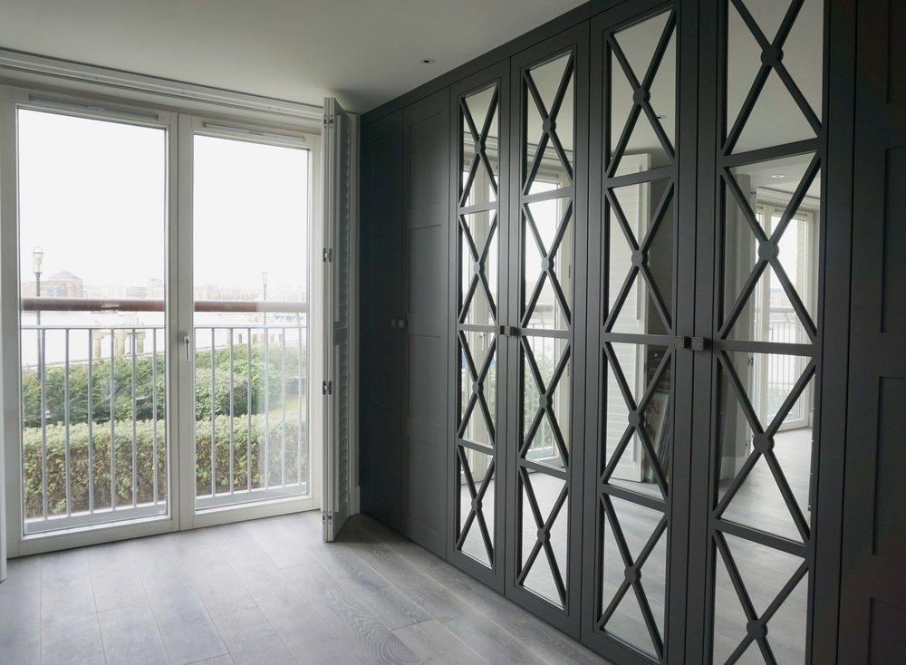 Graphite Matt Lacquer Shaker 4 Panel & Graphite Matt Lacquer Castille Doors with Silver Mirror & Grey Nouvel Handles (3).jpg