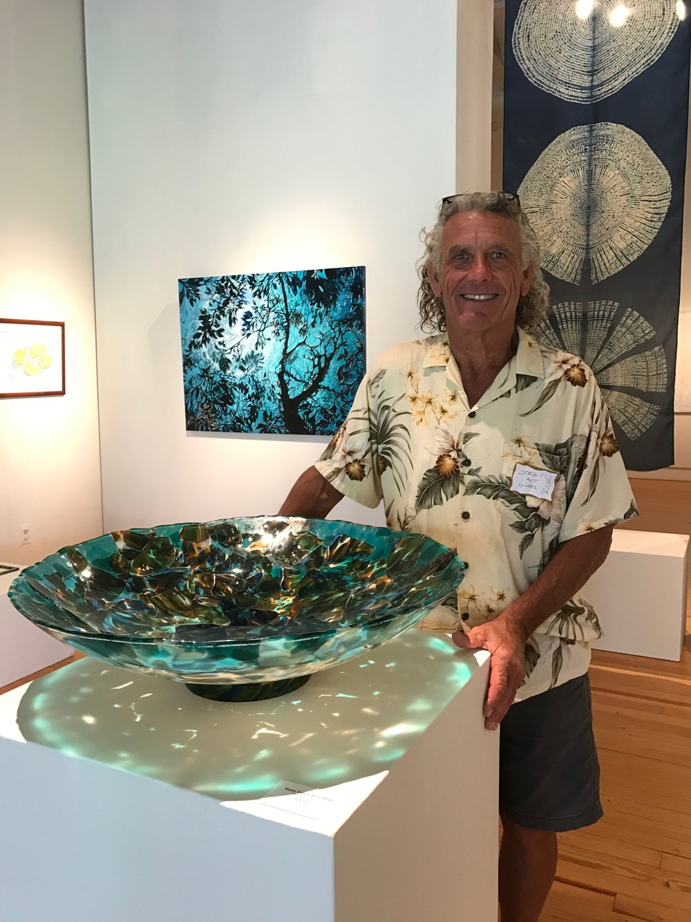 maui crafts guild member with his fused and slumped glass creation also accepted into this yearsArt Maui 2017 show at the Schaefer Gallery at the MACC.