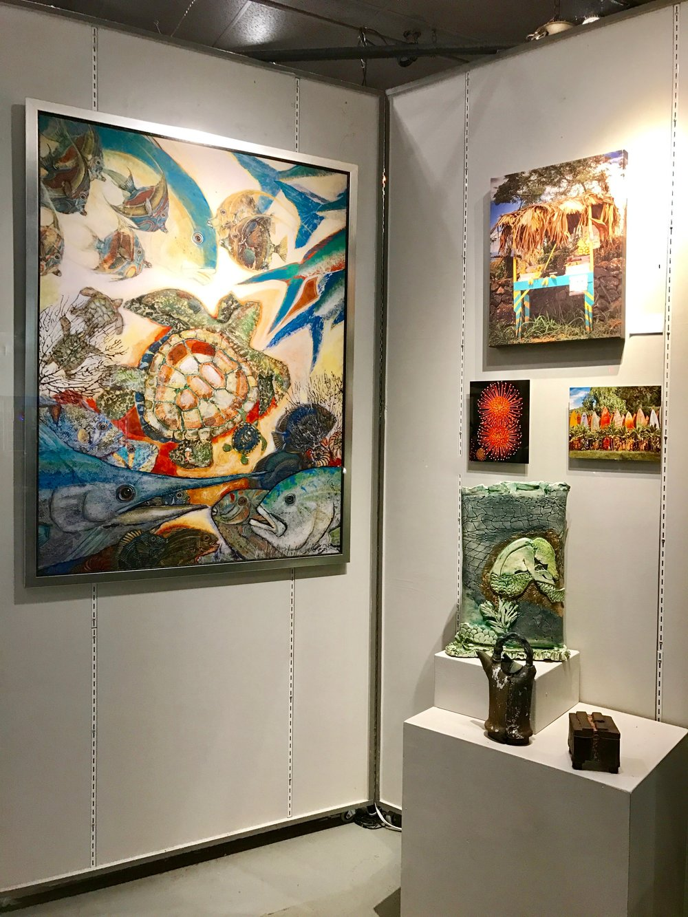 On the left wildly acclaimed artist Carrie Brady,  and on the left Co op member STeven Levin, and Famous Ceramist Arabella Ark from Hana, also one of our members.