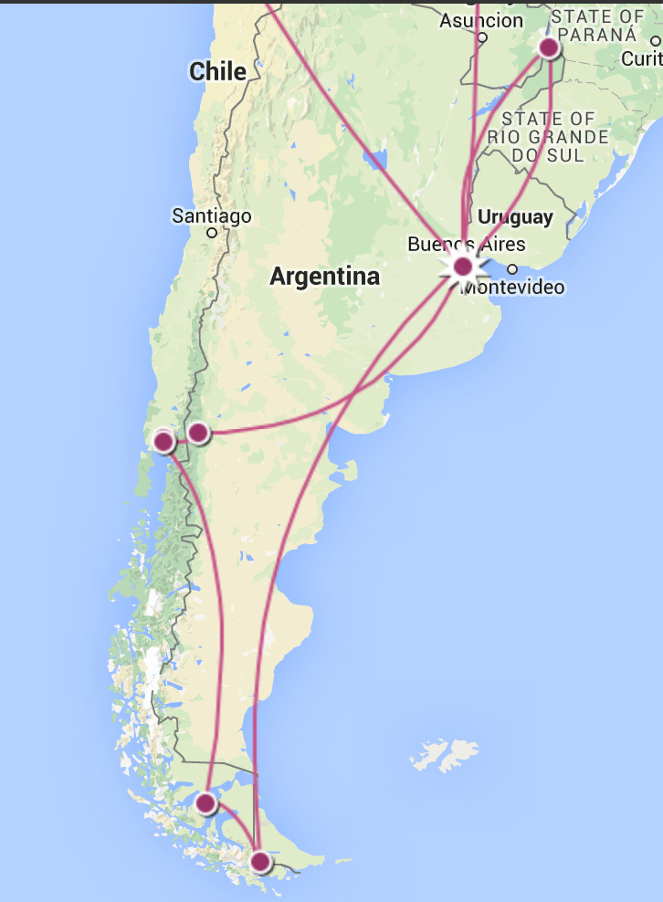 My route by plane, boat, and bus around Patagonia.