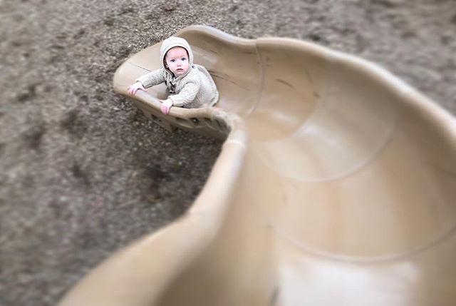Little baby on a big slide 😍
