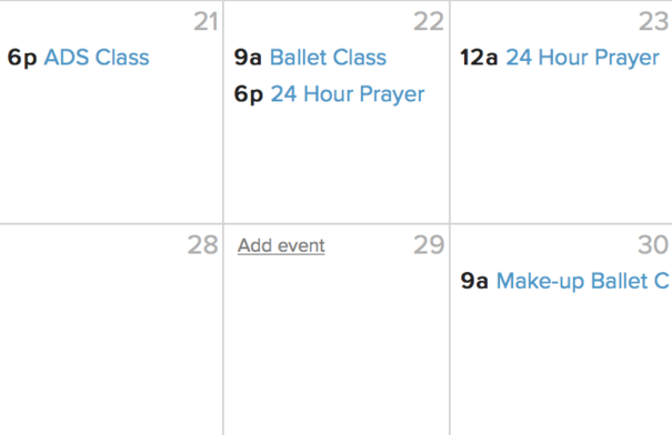 "CREATE NEW EVENT    Hover over the selected date and click ""Add event."""
