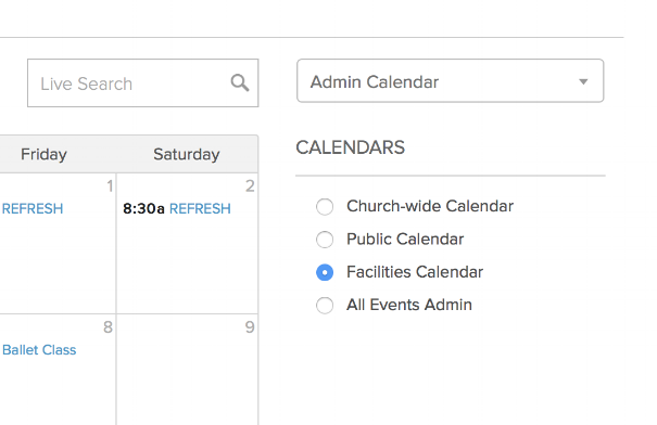 "SELECT ""FACILITIES CALENDAR""    This shows all events currently scheduled to take place at Antioch facilities."