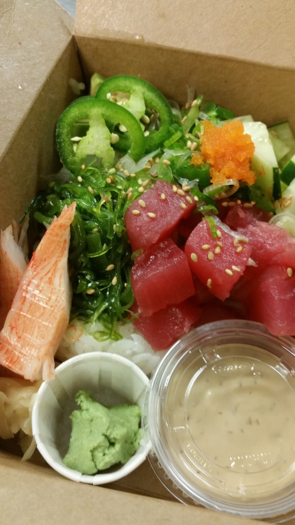 Ahi tuna chirashi box to go   $13.99