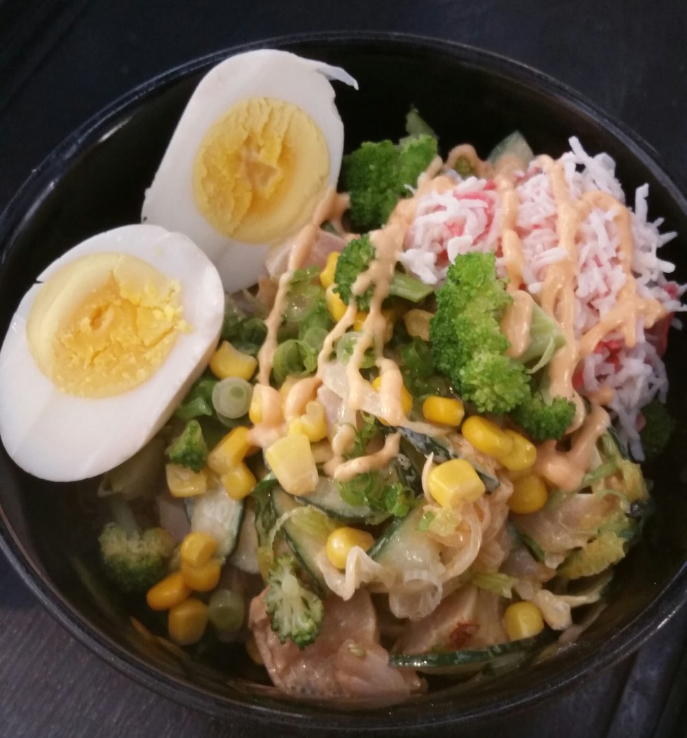 Albacore Salad Bowl  extra  boiled egg $12.99