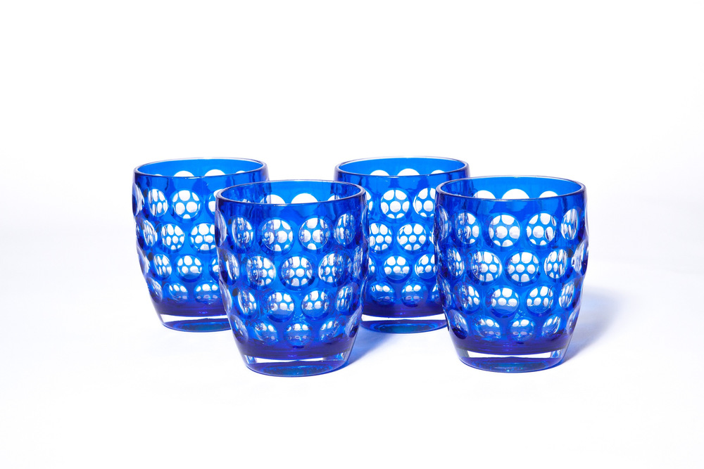 Product photography of a set of blue tumblers