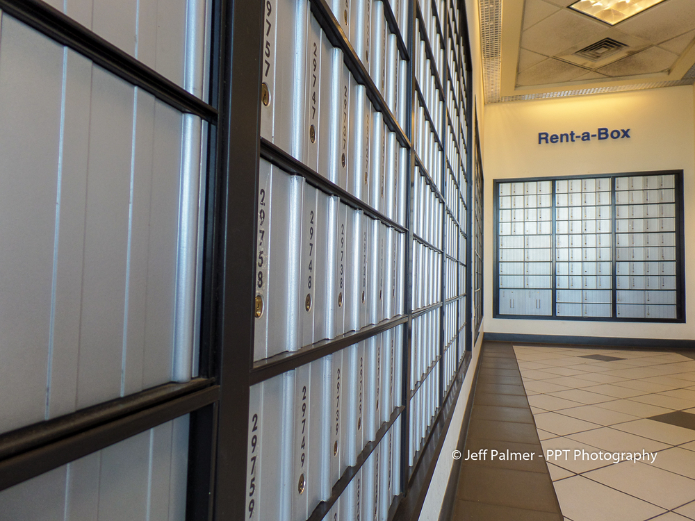 Mailboxes at a post office