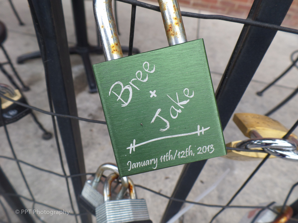 Engraved love lock in Charlotte
