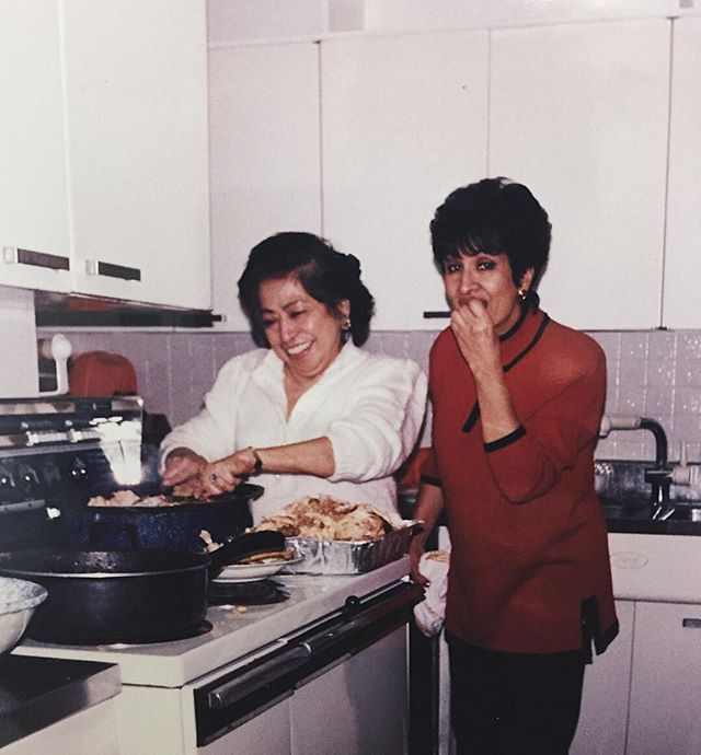 Stumbled upon my now forever favorite photograph. The two most amazing women who shaped the outcome of my life, cookin in my mamas kitchen. I wouldn't exist without either of them. Flor de Maria and Rose, my grandmas. It is with such remorse that I had to say goodbye, after the recent passing of Flor. I hope you two are veggin' out up in heaven togetha, the most selfless women I ever knew. I will sincerely miss the sensational food these two whipped up like it was nothing, my stomach will forever be at a loss. Familia es todo. Descansa en paz para siempre. 🌸🥀 🇨🇴🇸🇻 . . #rip #abuelas #vivacolombia #vivaelsalvador