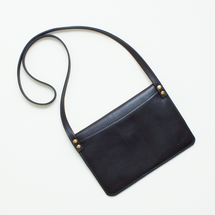 Small Black Leather Crossbody Bag — JILLY DESIGNS