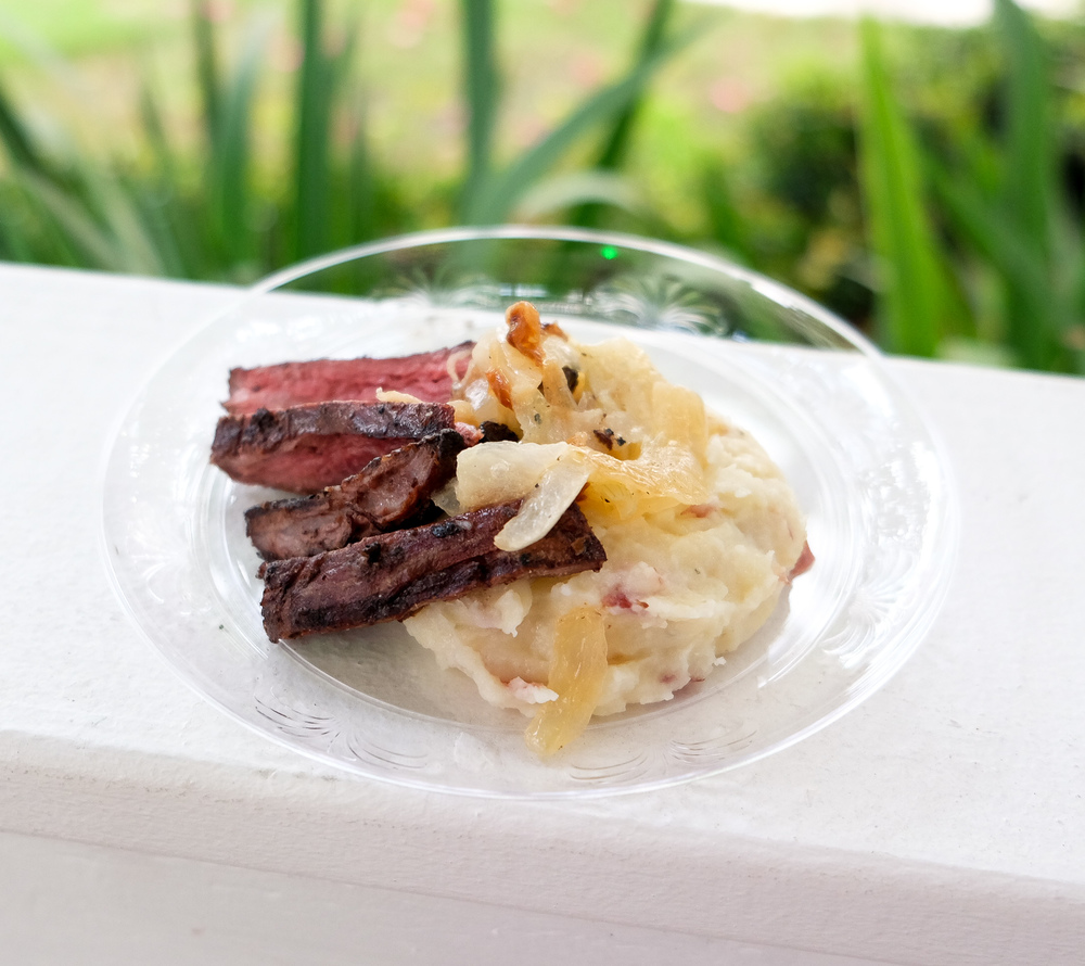 Bourbon Glazed Skirt Steak with Mashed Potatoes & Caramelized Onions