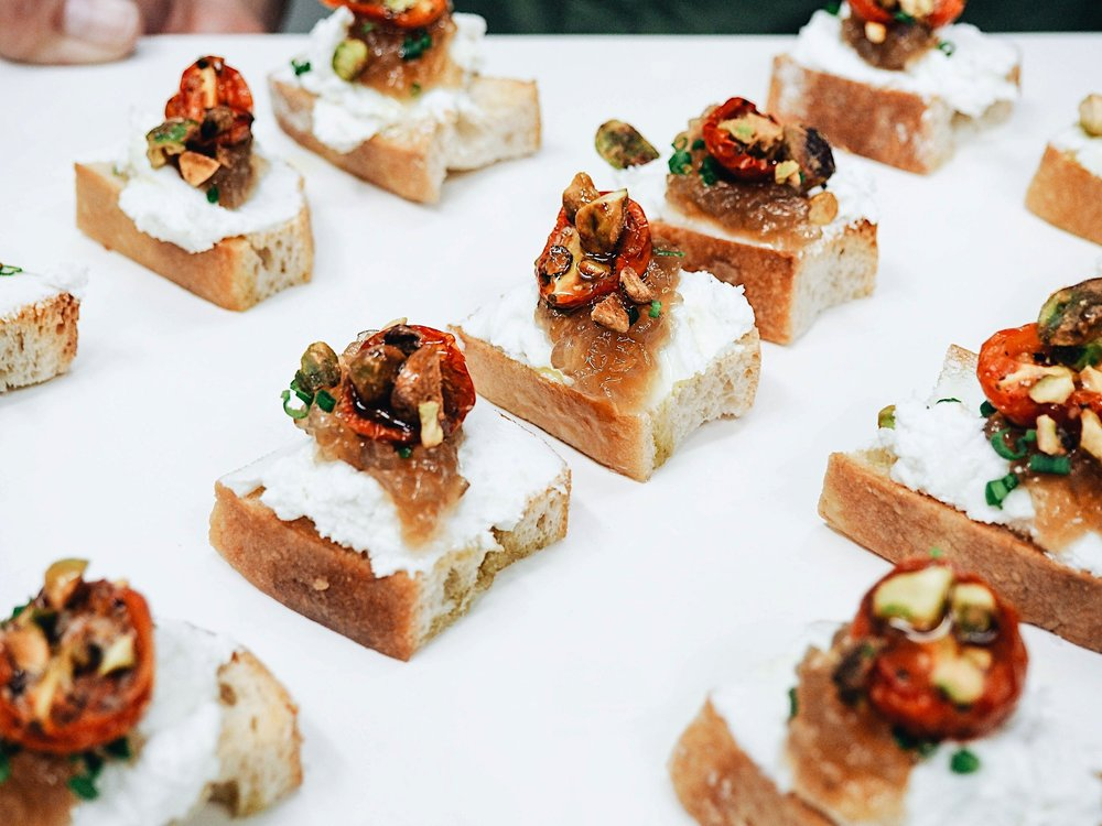 Whipped Goat Cheese with Roasted Tomatoes, Shallot Jam and Pistachios