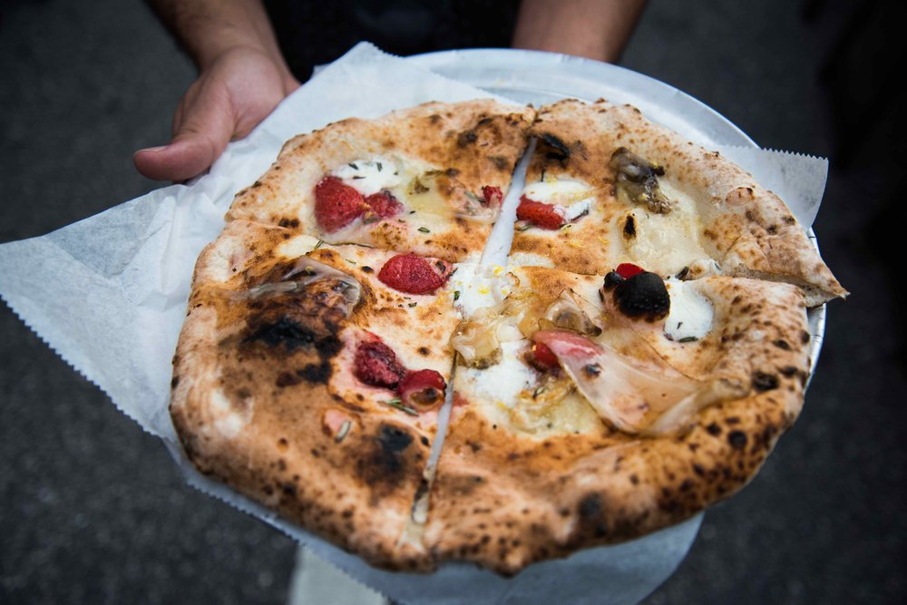 Strawberry Swine - Burnt Strawberries, Gorgonzola, Fresh Mozzarella, Rosemary, Iberico lardo, and Lemon Zest by  Pizza Bruno  was quite Incredible!