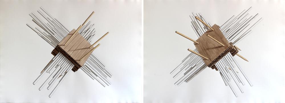 Estructura constructiva 3 , 2015. Acuarela sobre papel. Díptico, 78.5 x 208 cm.