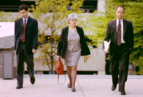 Zachary, Sue and Ron Witman entering the York Court House in 2003.  Photo courtesy of the York Daily Record