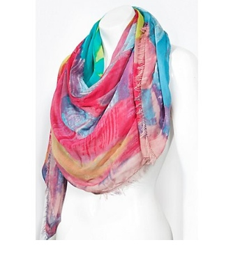 pink turquoise scarf abstract art wearable art Kenneth Jay Lane scarf