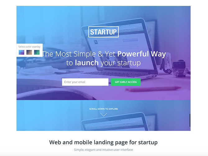 One of the many Unbounce landing page templates available.