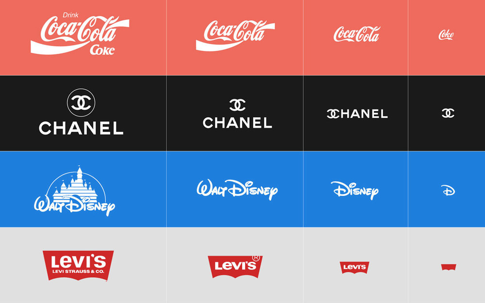 A few examples of scalable and responsive logo design.