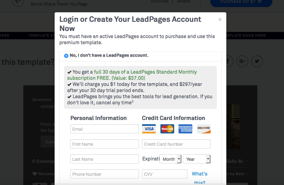 Leadpages 30 day free trial