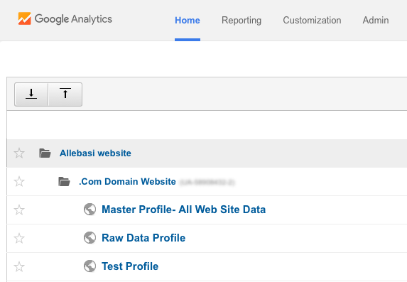 Here's what one of my web property's Analytics properties looks like.