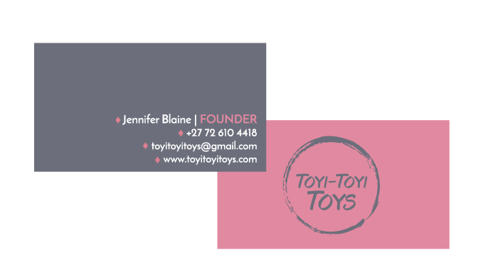 Business cards for a toy company designed by Allebasi Design