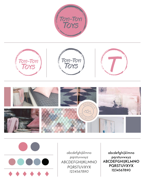 branding board for a toy online store designed by Allebasi Design
