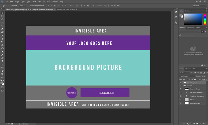 Template in Photoshop with guideline layer visible.