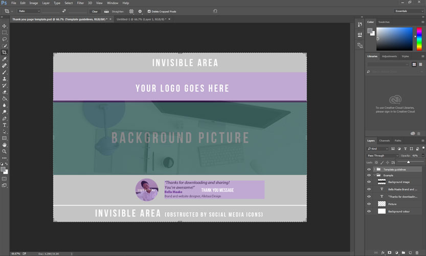 Template in Photoshop with guideline layer's opacity decreased.