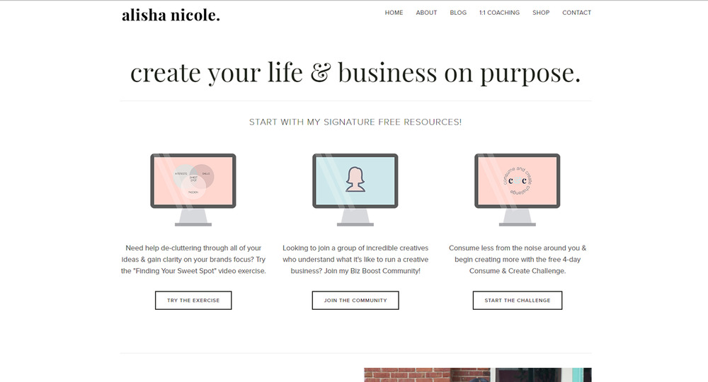 Alisha Nicole has recently made a few design changes to her  website ; isn't her homepage lovely!?