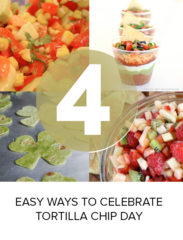 Tortilla chips in four different recipes that will have you celebrating. I think we can have them at every meal!