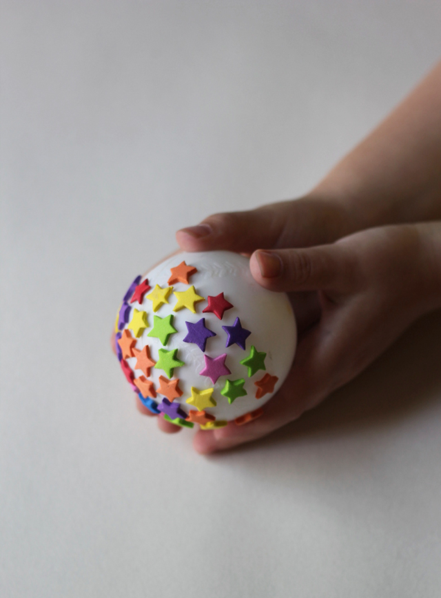 Add foam stars to a ball for a fun rolling stamp activity.