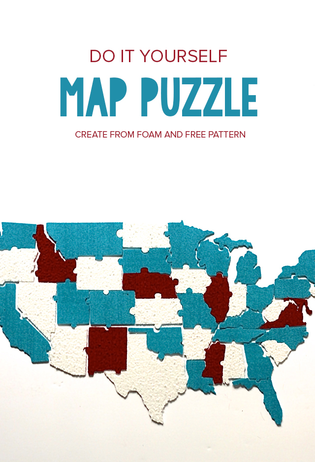 Make your own game with this free puzzle pattern of the United States! Use foam to create a game you can use and re-use.