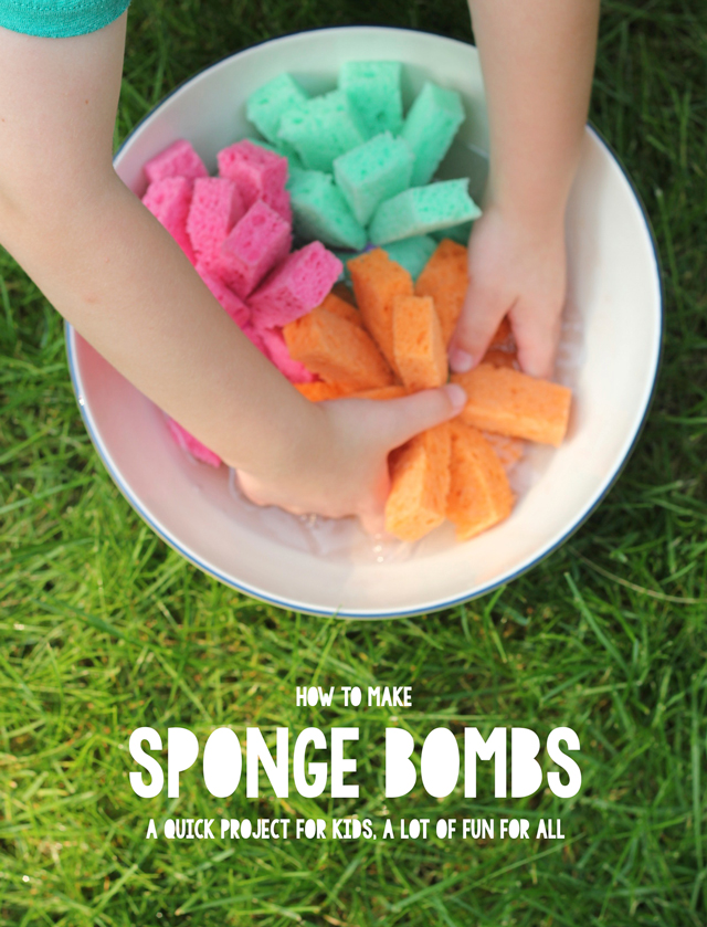 Sponge bombs are created from strips of household sponges. Follow this easy DIY to make these in a few minutes and play all afternoon long!