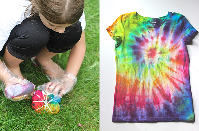 The classic tie-dye pattern derived from shibori methods. Find your center point, and twist the entire shirt to create a spiral-galaxy-like bundle. Section off areas to focus dye by adding 2-4 rubber bands.
