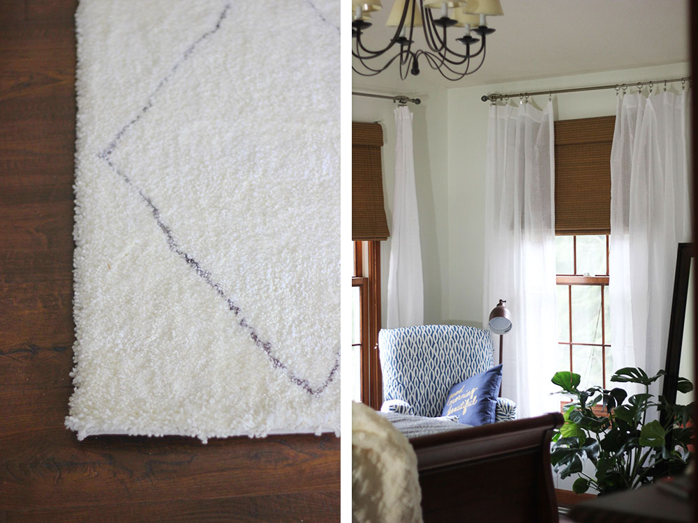 This soft shag rug from The Home Depot grounds the room in comfort, and the translucent curtains remind me of summer even in the perma-gray of winter.
