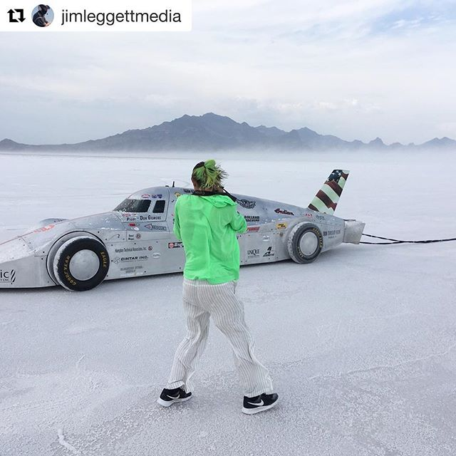 "🌪🌪🌪Craziness with @irondinosaurracer and @jimleggettmedia 🌪🌪🌪 ・・・ ""Yes, we do photo shoots in raging salt storms. No idea how hard it was blowing but we saw portable toilets and dozens of canopy frames blown over. It was wild!! #irondinosaurracing #bonneville #bonnevillesaltflats #speedweek2018 #speedweek #windstorm #salt #landspeedracing #utah #carphotography """
