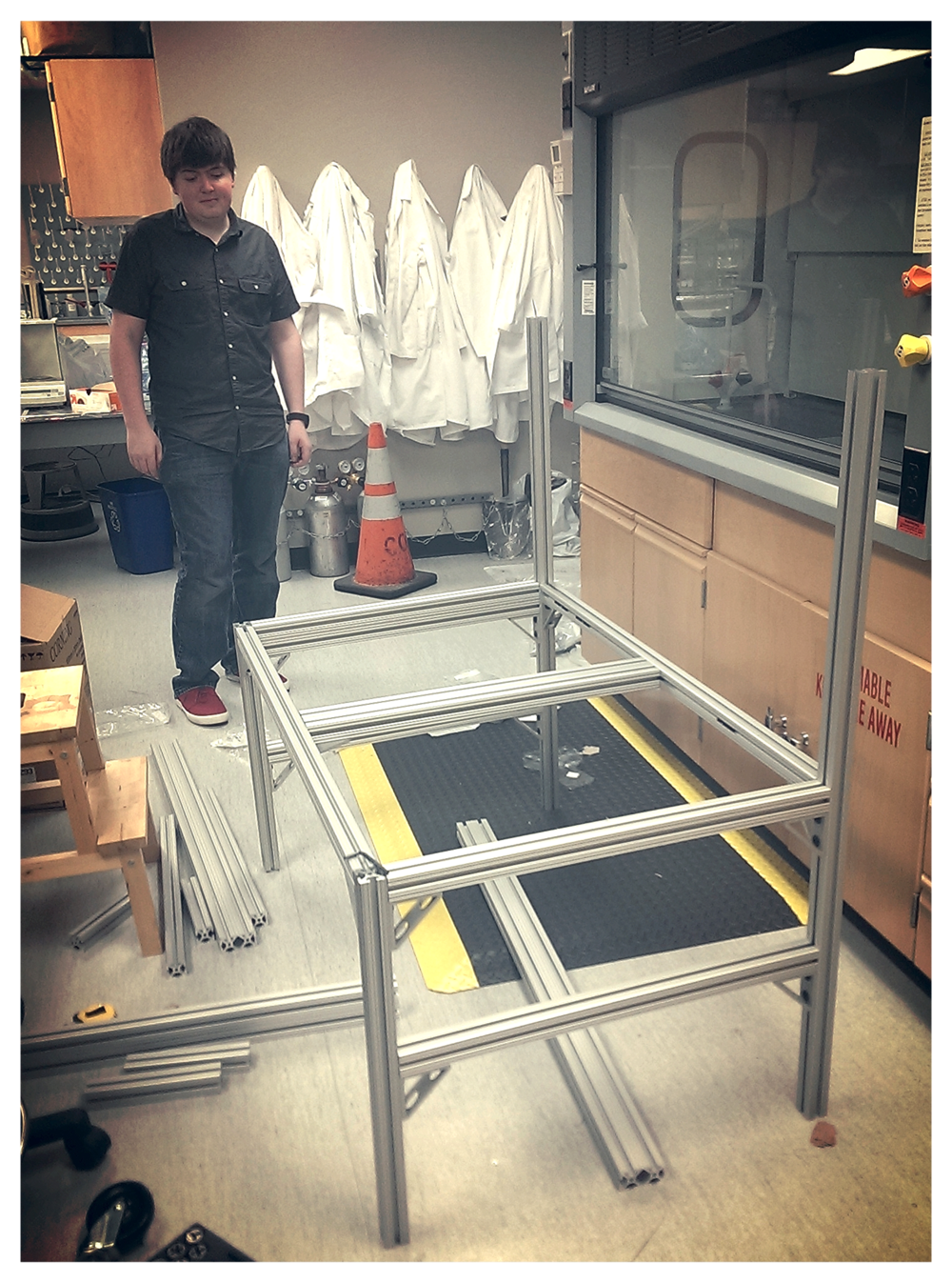 Ian admiring the sample prep cart-in-progress that he helped design.