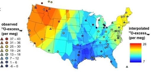 Map of interpolated 17O-excess values of the continental U.S.