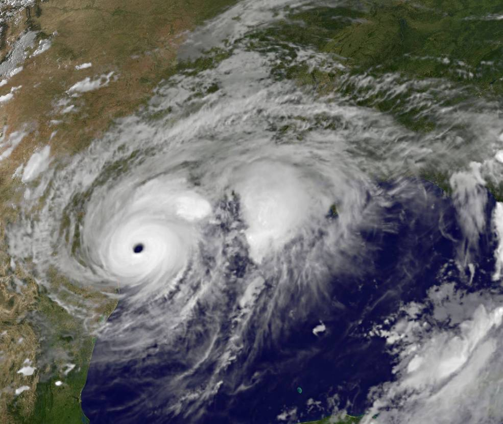 Hurricane Harvey just before landfall on August 25 (image credit: NASA GOES).