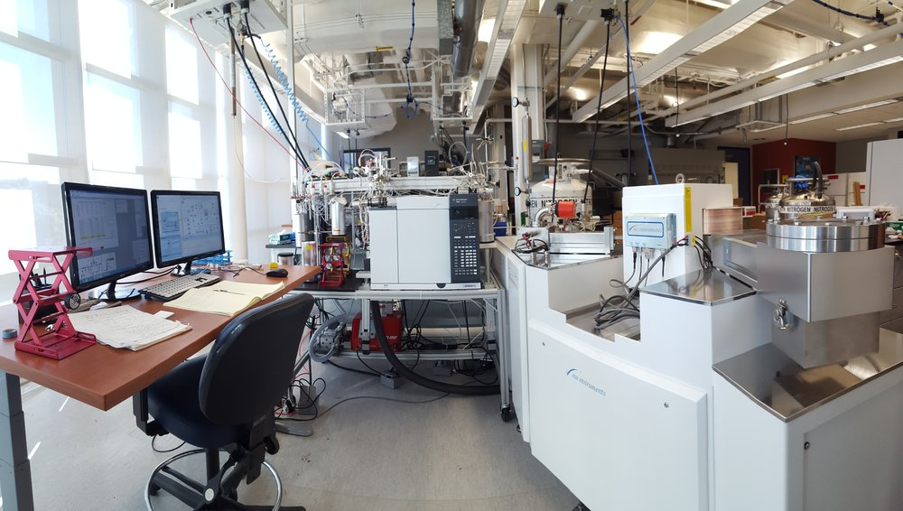 Our tool of choice, the isotope ratio mass spectrometer (right), hooked up to a home-built, computer-controlled sample preparation system for gases (left and center)