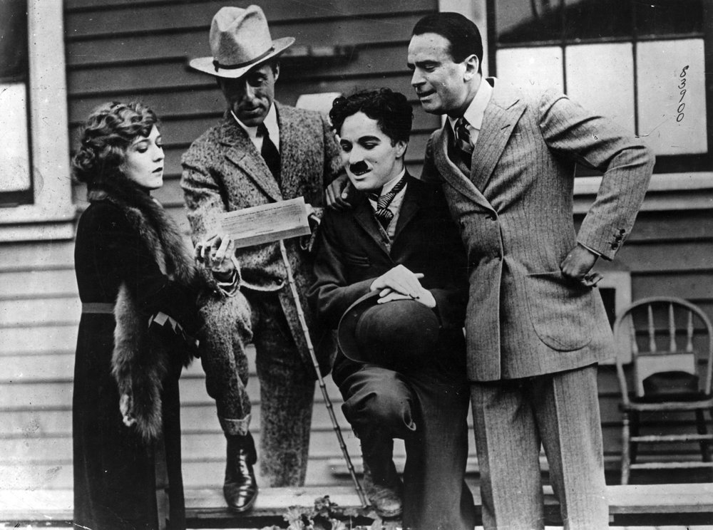 United Artists founders Mary Pickford, D.W. Griffith, Charlie Chaplin and Douglas Fairbanks.