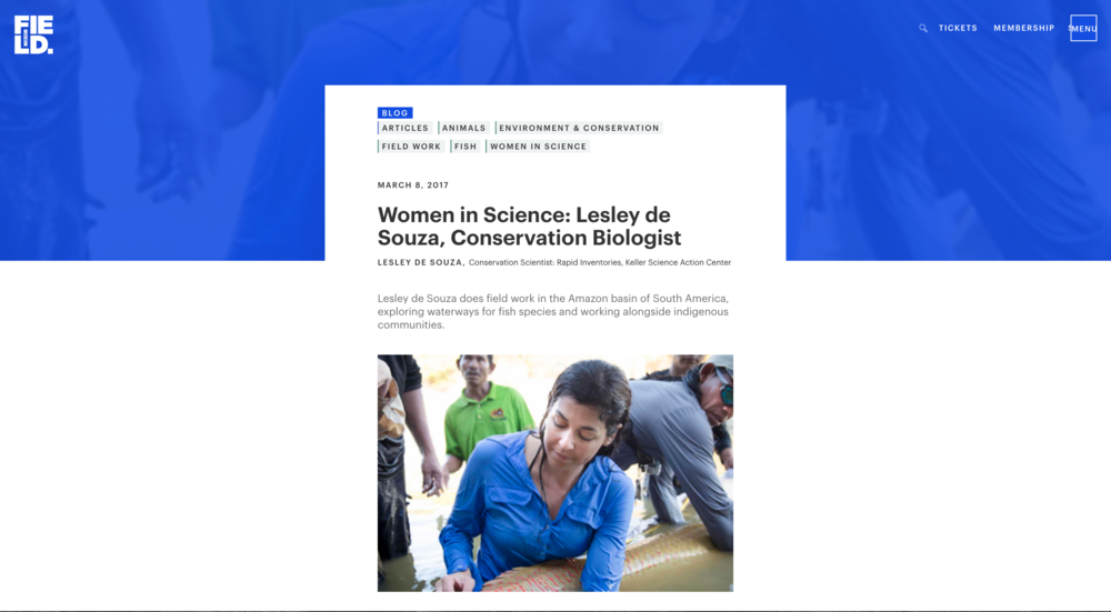 Women in Science feature on Field Museum website