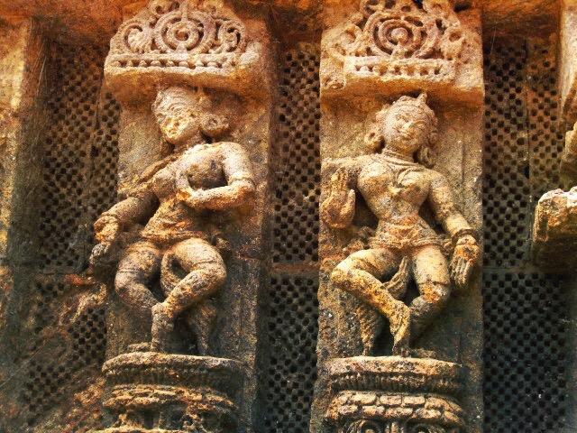 carvings of odissi dancers on the konark sun temple outside of puri, orissa