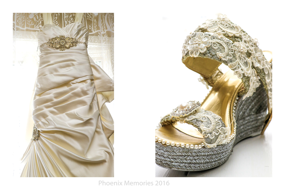 Sarah's beautiful wedding dress is by  David's Bridal , and her shoes were hand decorated and designed by her.