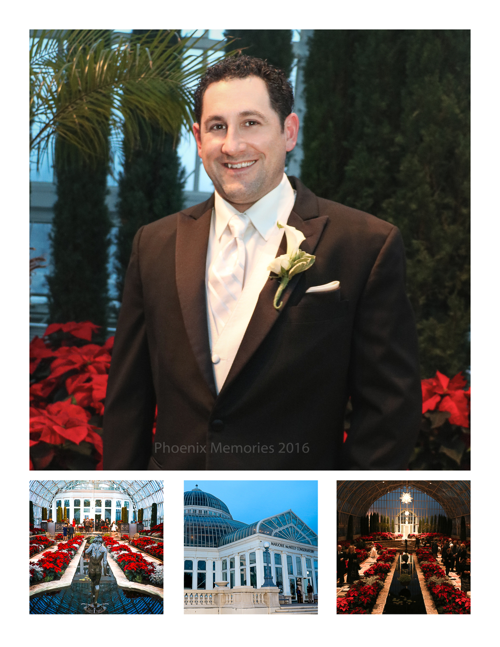 The Handsome Groom was ready and waiting at the  Como Park Conservatory Sunken Garden  for his Bride. It may have been a cold December day outside, but hearts were warmed by this stunning venue, filled with Christmas florals.