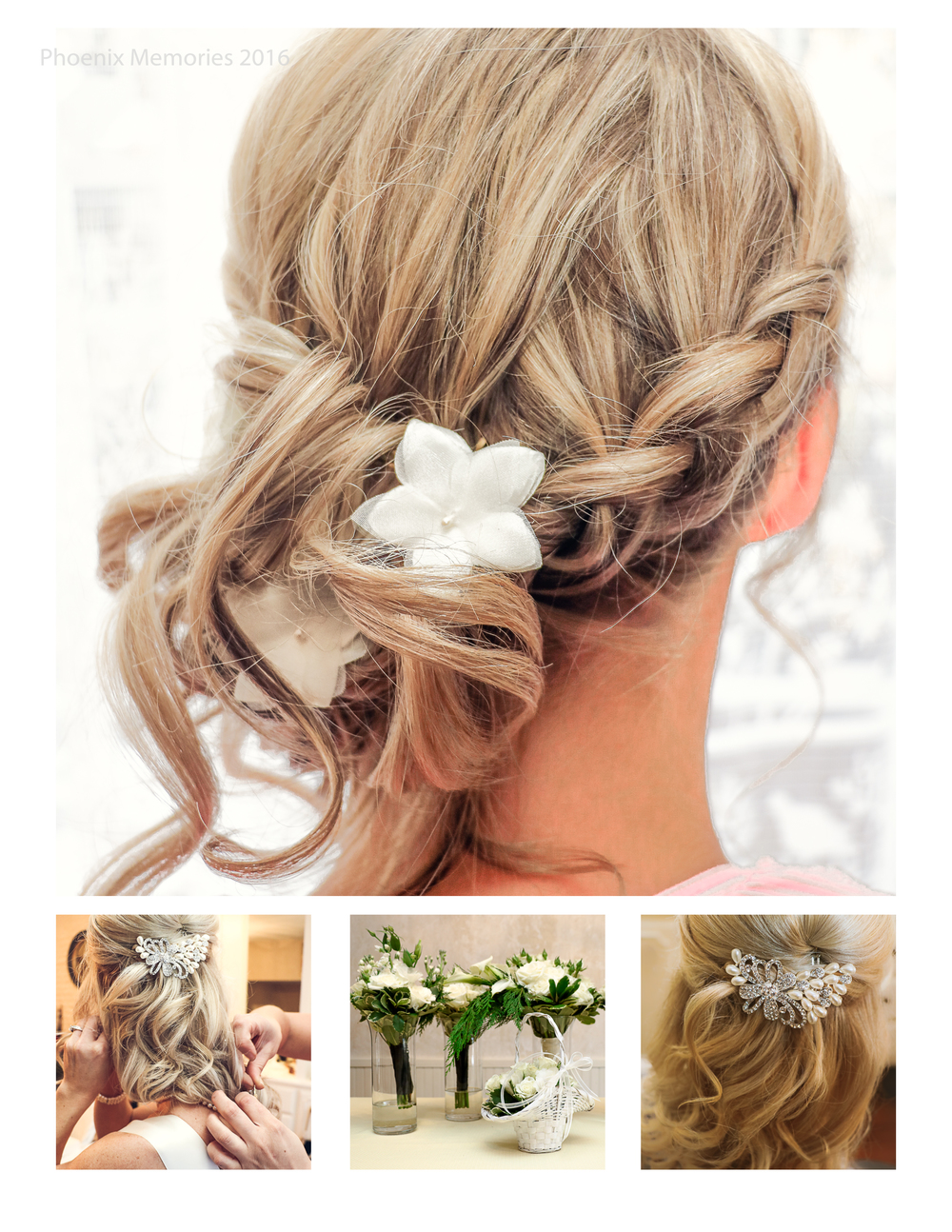 The Bride adorned her  up-swepped hair with an elegant jeweled hairpiece, and her Bridesmaids chose different styles to fit their personalities, Cassandra (pictured above), chose a braided up-do with sweet white flowers embedded.  Hair & Makeup by Katie Klett . Flowers by  Wisteria Design Studio